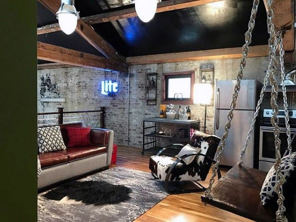 Awesome Mens Basement Man Cave With Rustic Design