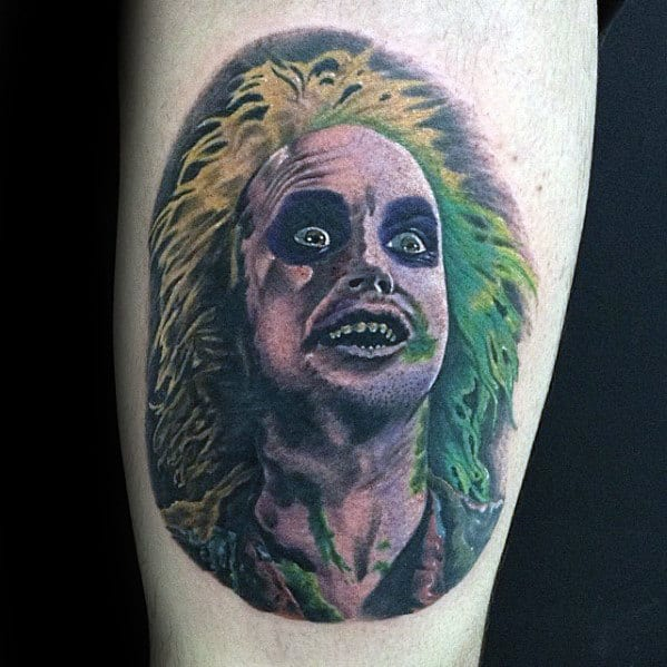 Awesome Mens Beetlejuice Portrait Tattoo Design On Arm