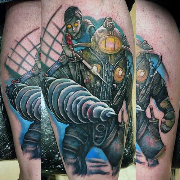Awesome Mens Bioshock Thigh Tattoo Ideas