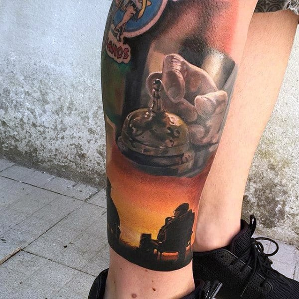 Awesome Mens Breaking Bad Bell Tattoo On Leg