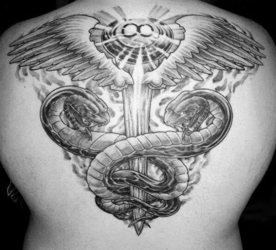Awesome Mens Caduceus Back Tattoo Inspiration With Shaded Design