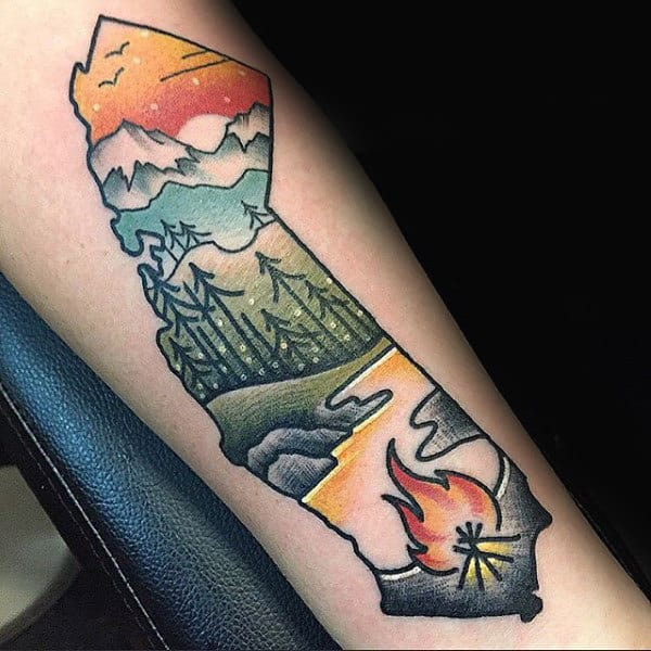 Awesome Mens California Themed Outdoors Tattoo