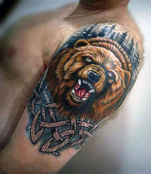 Awesome Mens Celtic Bear Half Sleeve Tattoo Design Ideas