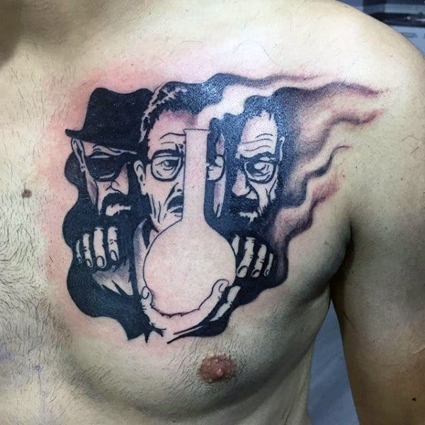 Awesome Mens Chemistry Breaking Bad Upper Chest Tattoos