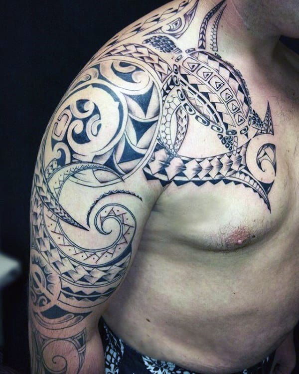 Awesome Mens Chest And Arm Polynesian Tribal Turtle Tattoo Designs