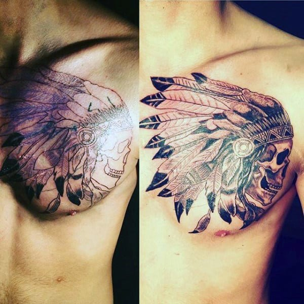 Awesome Mens Chest Indian Head Skull Tattoos