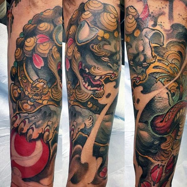 Awesome Mens Chinese Foo Dog Forearm Sleeve Tattoo