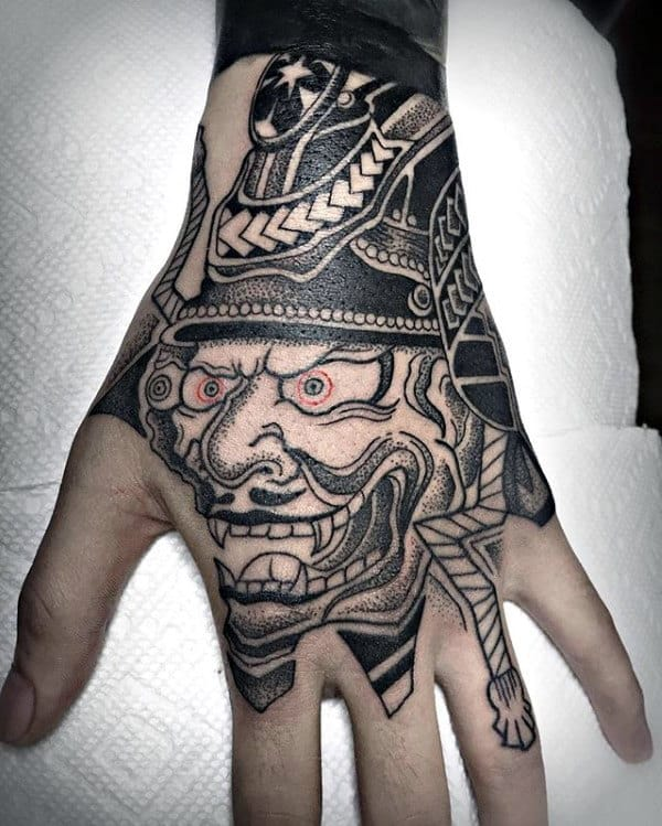 Awesome Mens Chinese Warrior Mask Hand Tattoo Designs