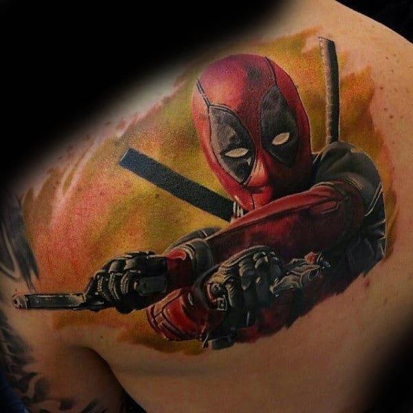 Awesome Mens Deadpool Upper Back Shoulder Tattoos