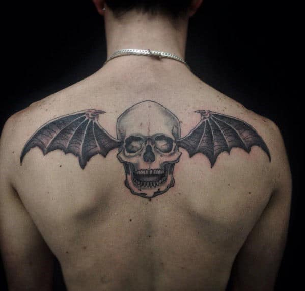 Awesome Mens Deathbat Upper Back Tattoo Inspiration