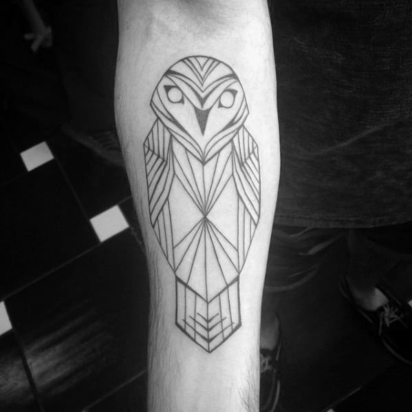 Awesome Mens Forearm Tattoo With Geometric Owl Design