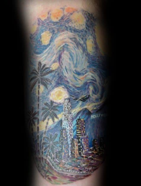Awesome Mens Forearm Vincent Van Gogh Tattoo Ideas