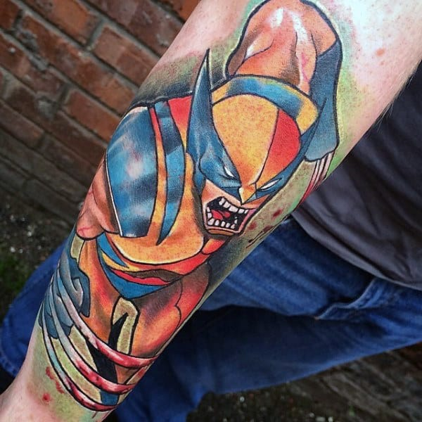 Awesome Mens Forearm Wolverine Sleeve Tattoos