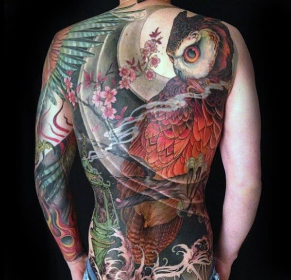 Awesome Mens Full Back Owl With Moon Back Tattoo Ideas