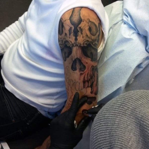 Awesome Mens Full Skull Sleeve Tattoo Design Inspiration