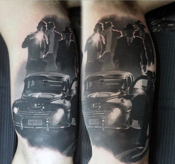 Awesome Mens Gangster Bicep Tattoos
