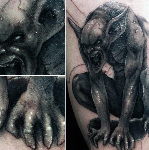 Awesome Mens Gargoyle Arm Tattoo Design Inspiration