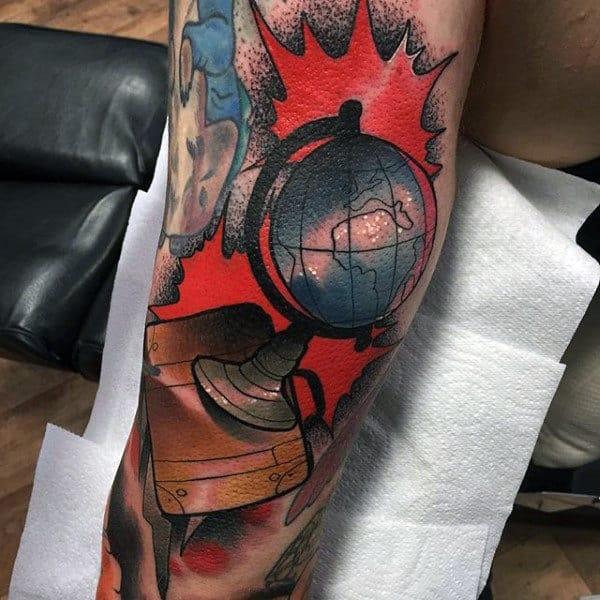 Awesome Mens Globe Arm Tattoo Designs