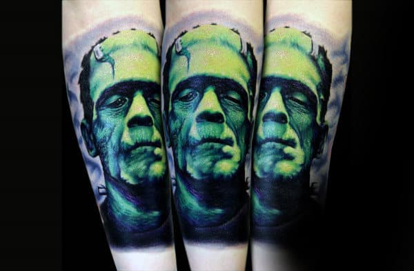 Awesome Mens Glowing Green Ink Frankenstein Tattoo On Inner Forearm