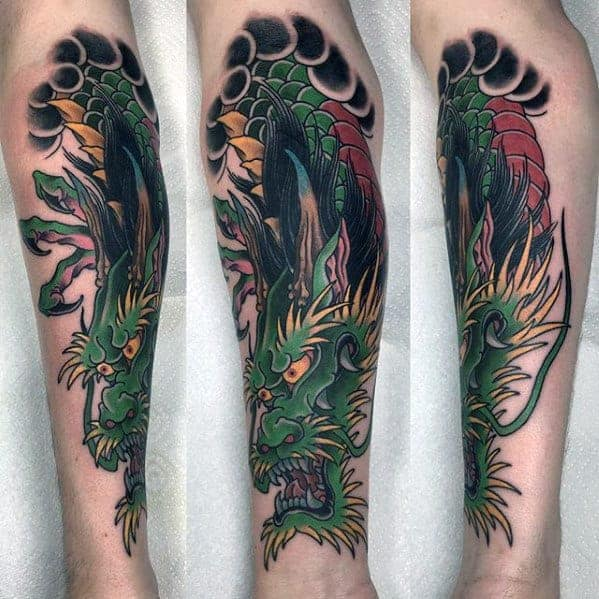 awesome-mens-green-dragon-inner-forearm-tattoos