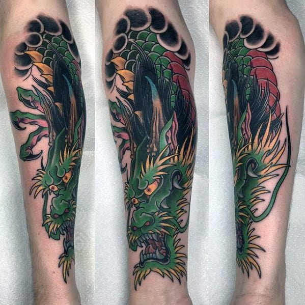Awesome Mens Green Dragon Inner Forearm Tattoos