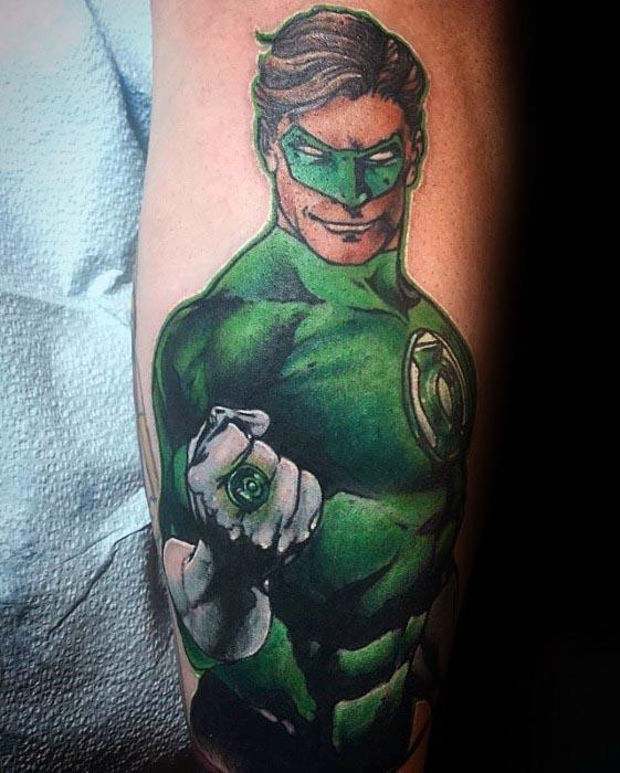 Awesome Mens Green Lantern Leg Tatto Ideas