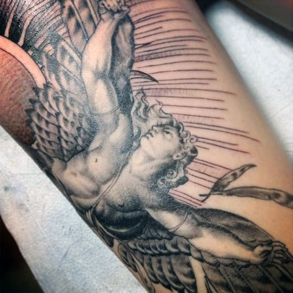 Awesome Mens Icarus Arm Tattoo Ideas