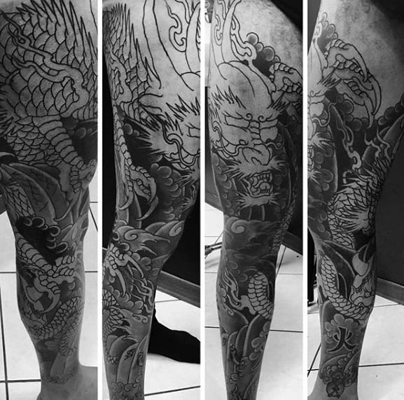 Awesome Mens Japanese Dragon Shaded Leg Tattoo Designs