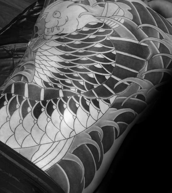 Awesome Mens Japanese Full Back Koi Fish Tattoo