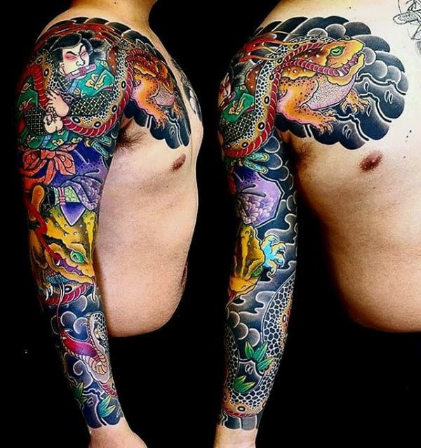 Awesome Mens Japanese Full Sleeve Frog Tattoo Ideas