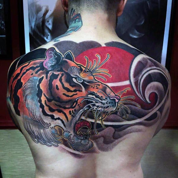 600810201 ... Tattoo Ideas. Awesome Mens Japanese Tiger Upper Back Tattoos