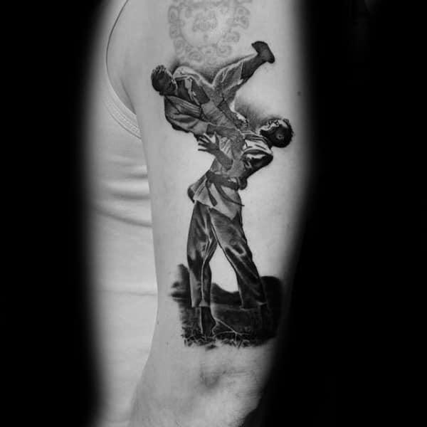 Awesome Mens Jiu Jitsu Shaded Black And Grey Arm Tattoo