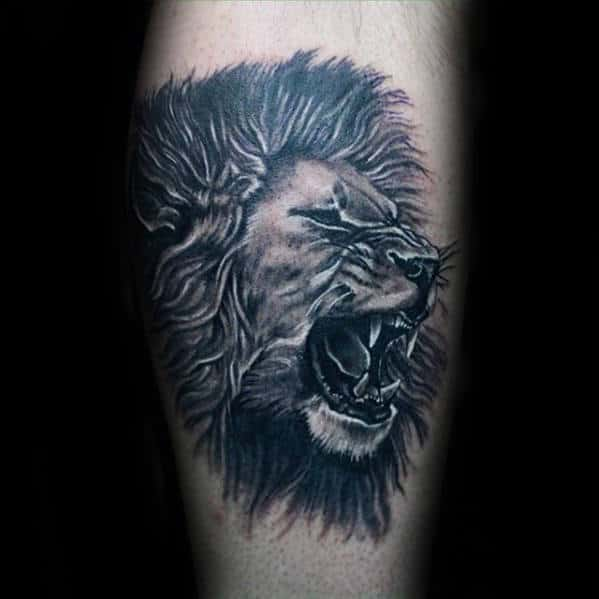 Awesome Mens Leg Calf Roaring Lion Tattoo