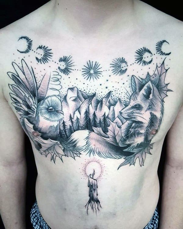 Awesome Mens Moon Phases Tattoo On Chest With Nature Landscape Design