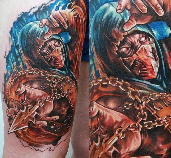 Awesome Mens Mortal Kombat Arm Tattoo With 3d Design