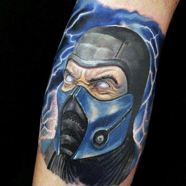Awesome Mens Mortal Kombat Tattoo Of Sub Zero With Blue Ink On Arm