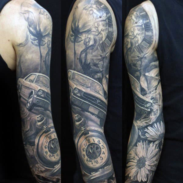 Awesome Mens Mustang Themed Full Sleeve Tattoos