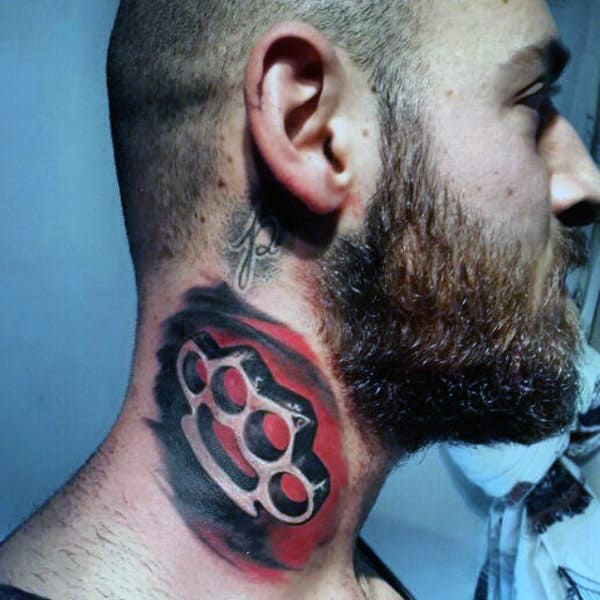 Awesome Mens Neck Tattoo Of Brass Knuckles