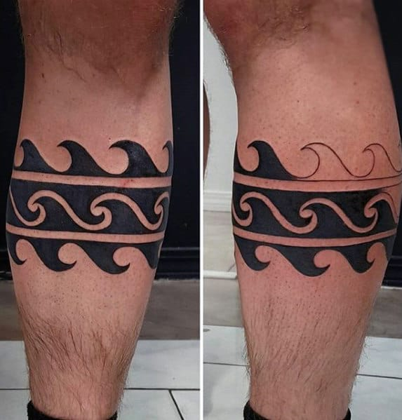 Awesome Mens Ocean Wave Leg Band Tattoo
