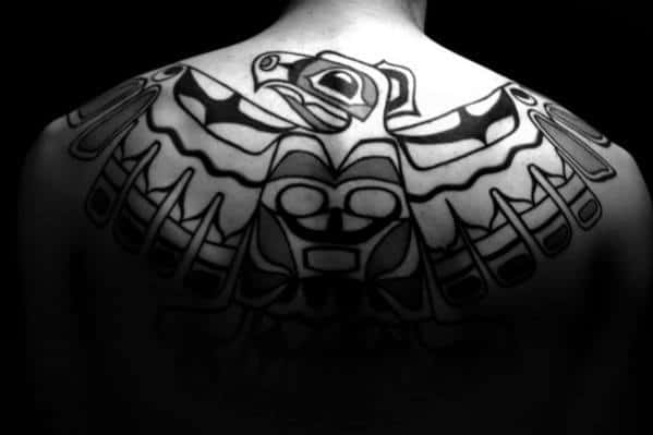Awesome Mens Old School Back Tribal Bird Tattoo Design Ideas