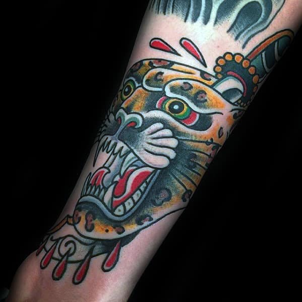 Awesome Mens Old School Traditonl Cheetah Outer Forearm Tattoos