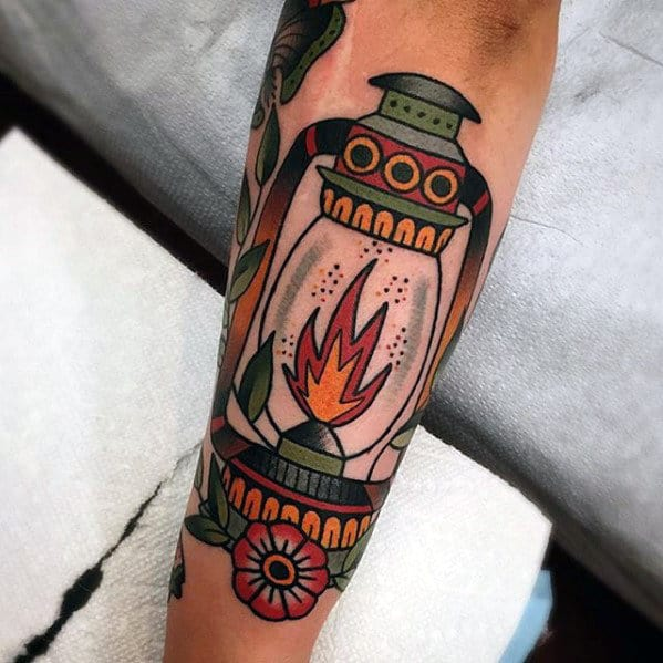 Awesome Mens Outer Forearm Traditional Lantern Tattoo Inspiration