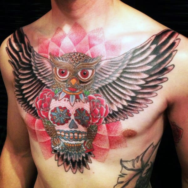 Awesome Mens Owl Sugar Skull Tattoo On Chest