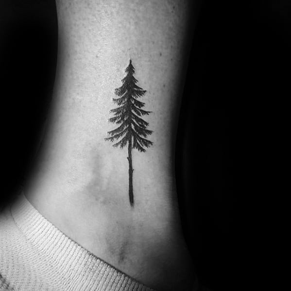 Awesome Mens Pine Tree Small Ankle Tattoo