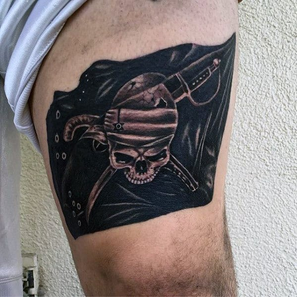 Awesome Mens Pirate Flag Thigh Tattoos