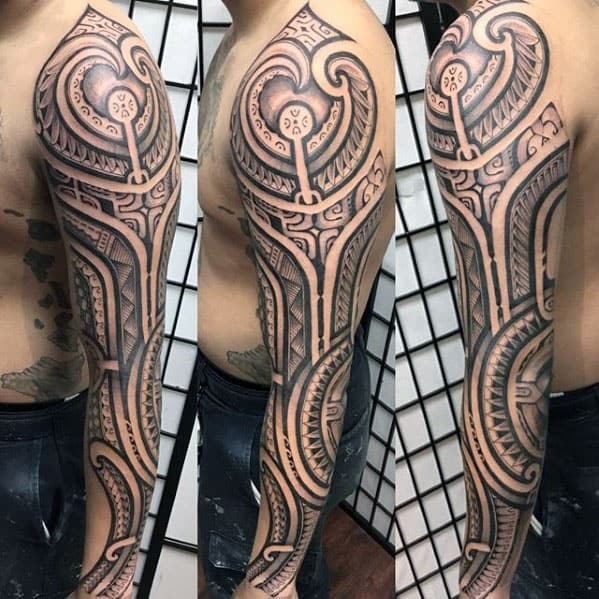 40 Polynesian Sleeve Tattoo Designs For Men