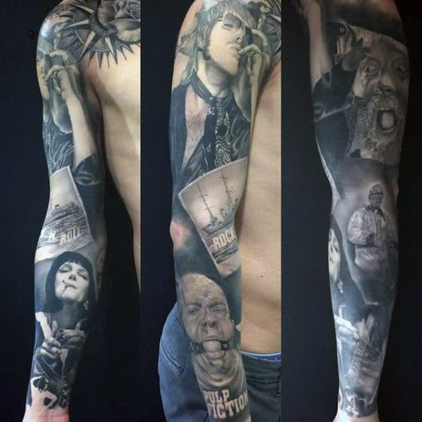 Awesome Mens Pulp Fiction Sleeve Tattoo Design Ideas