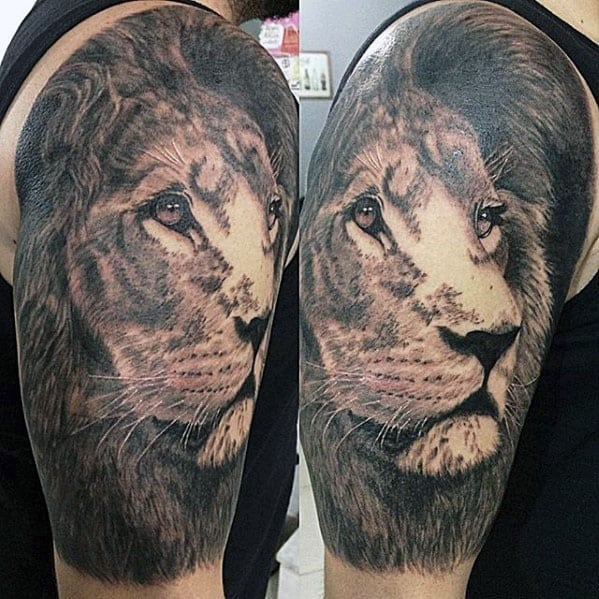 Awesome Mens Realistic Half Sleeve Lion Tattoos