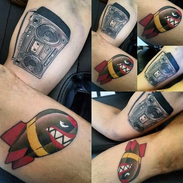 Awesome Mens Retro Boombox Tattoos