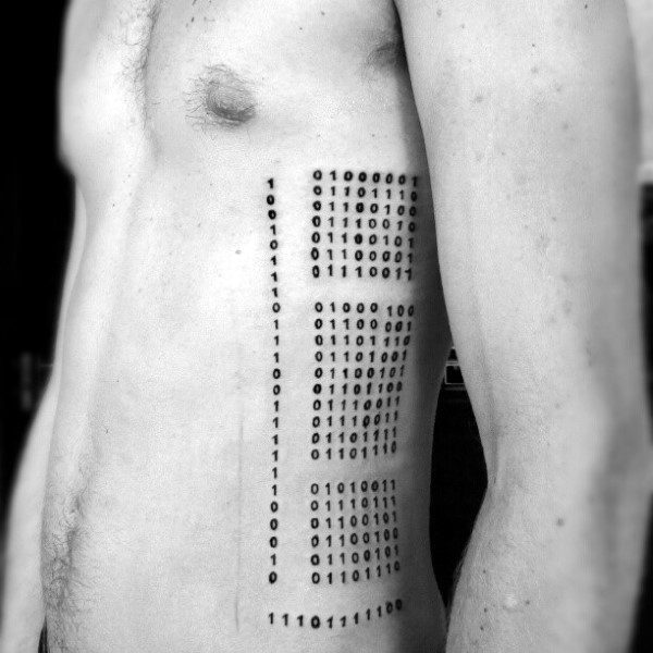 Awesome Mens Rib Cage Side Binary Numbers Tattoo With Black Ink Design